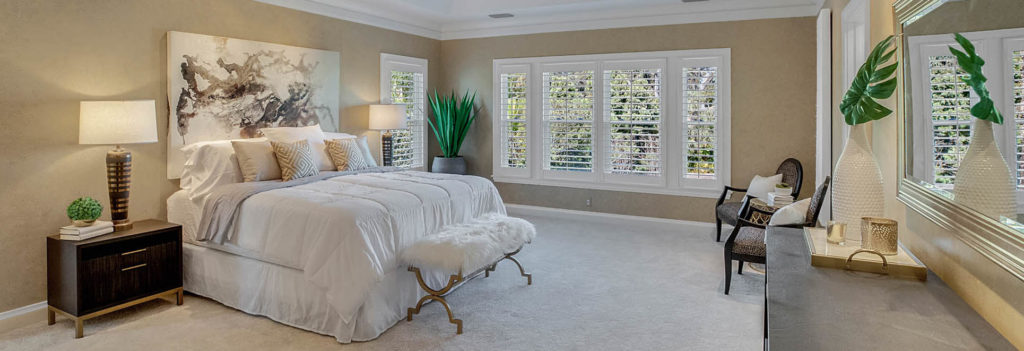 Luxury master bedroom staging