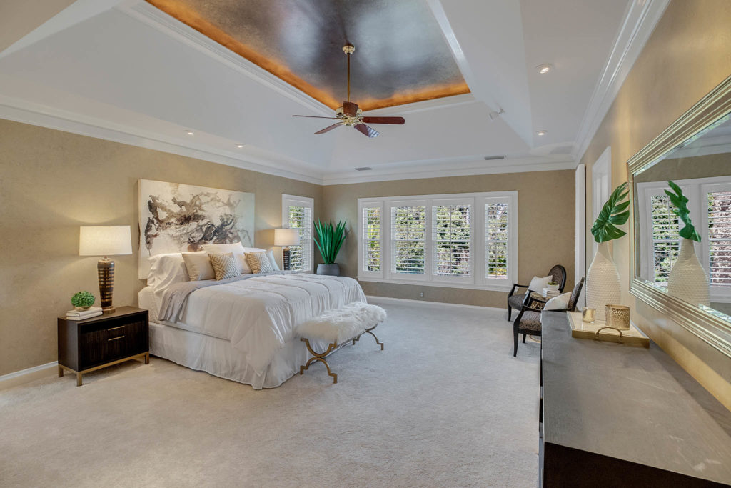 Luxury master bedroom home staging