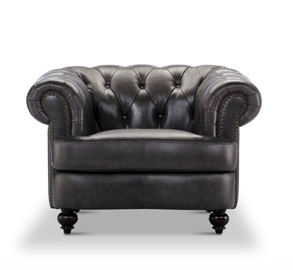 Empire grey tufted natural leather chair