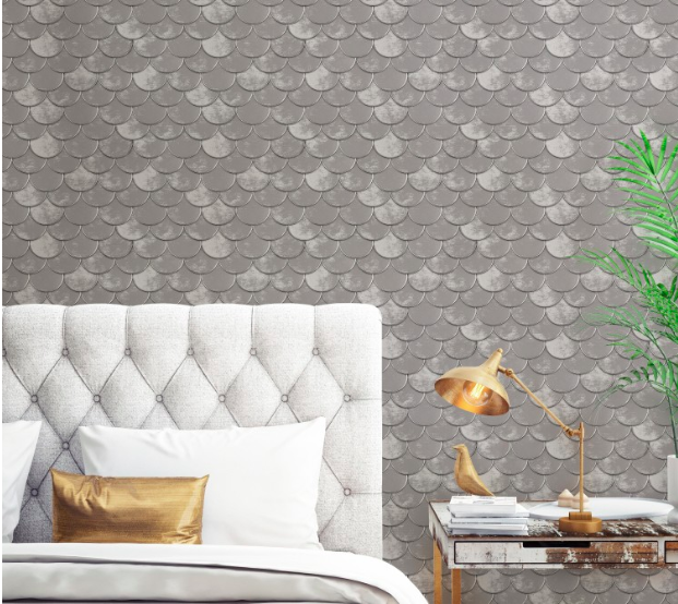 Pewter wall covering
