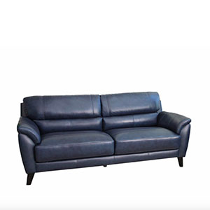 Natural leather navy sofa