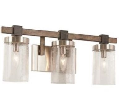Rustic 3 light bath pendant – wood and metal