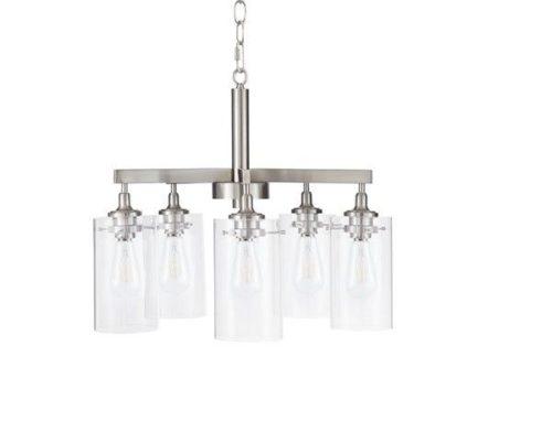 5 glass shade chandelier