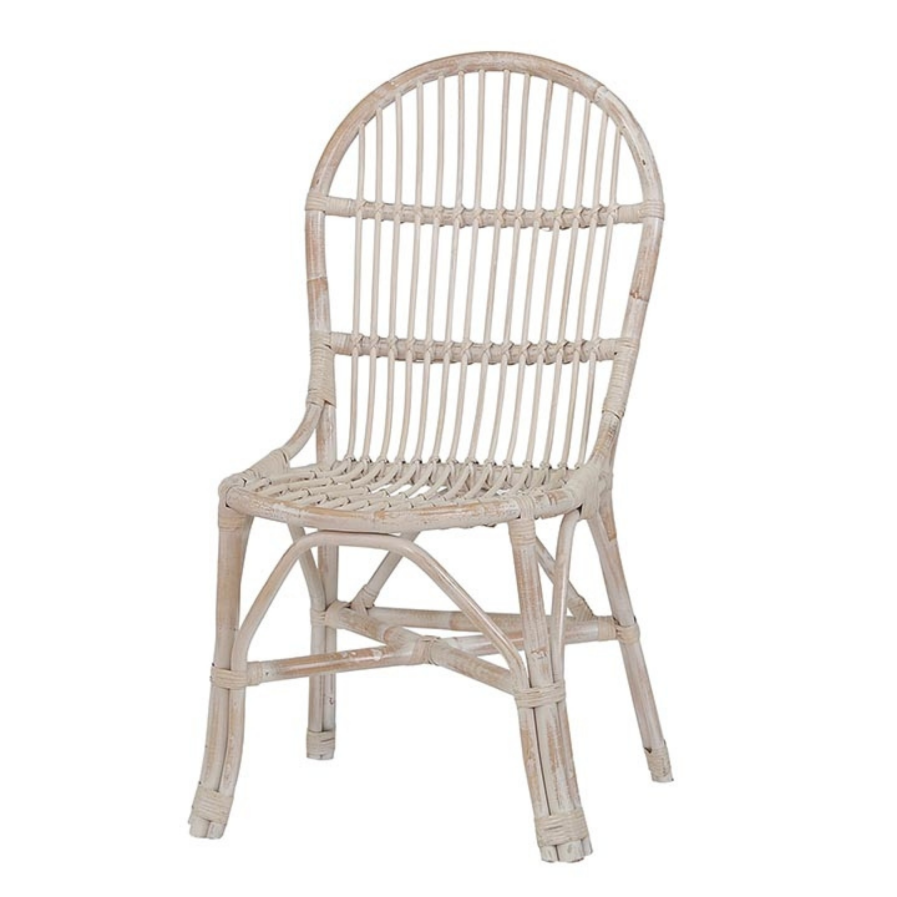 White rattan dining chair