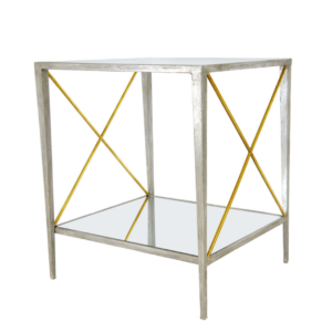 Silver and Gold Square Side Table