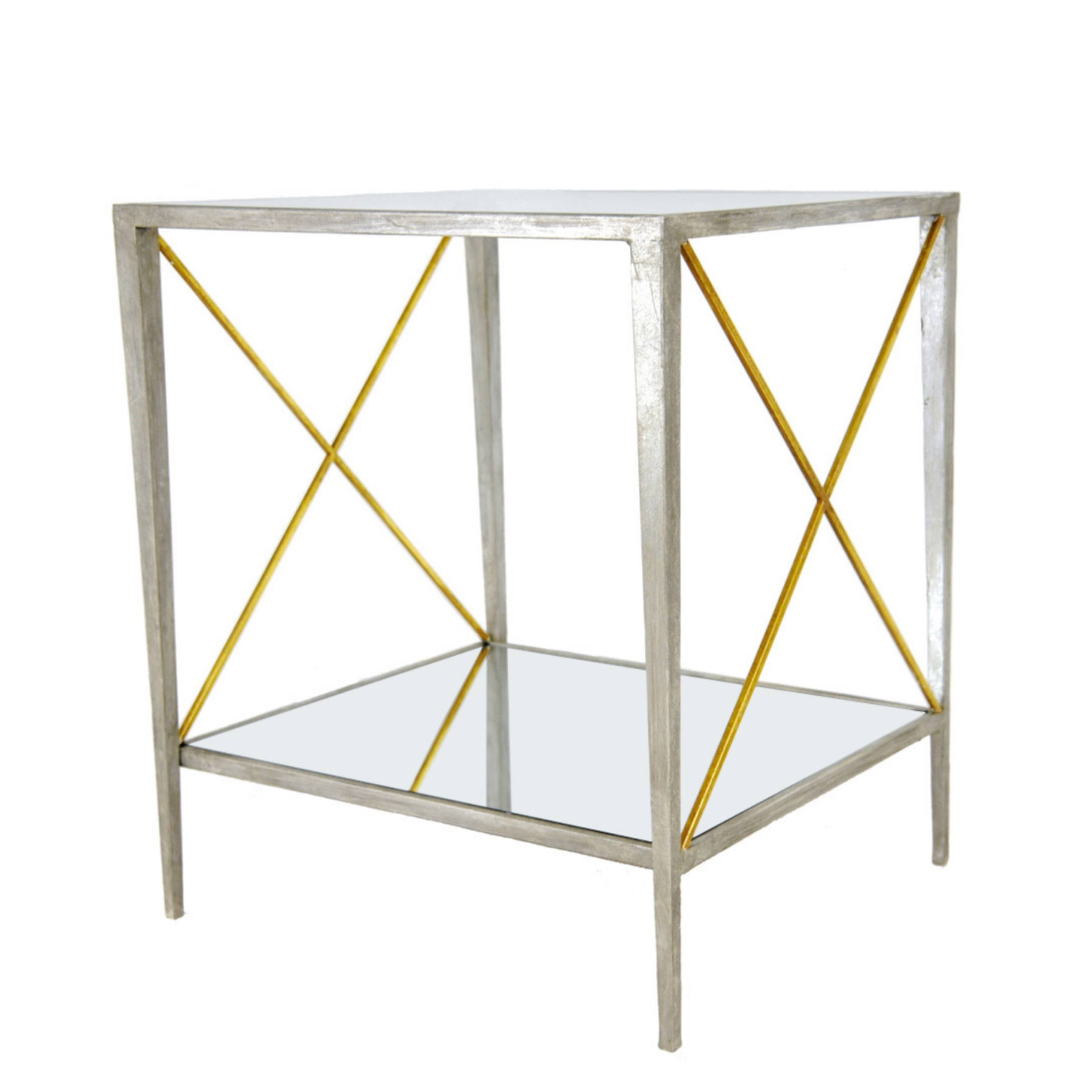 Silver & gold square side table