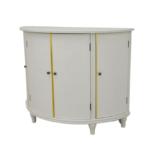 Gray demilune cabinet