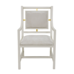 Elegant white dining chair with arms